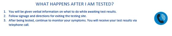 WHAT HAPPENS AFTER I AM TESTED? 1. You will be given verbal information on what to do while awaiting test results. 2. Follow signage and directions for exiting the testing site. 3. After being tested, continue to monitor your symptoms. You will receive your test results via telephone call.