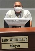 Mayor Jake Williams, Jr. wearing a Face Mask in Council Chambers