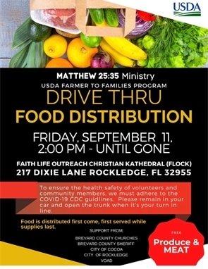 Drive thru food distribution flyer 9/11/20 2pm 217 Dixie Lane Rockledge