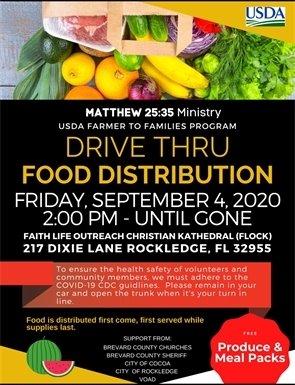 Drive thru food distribution flyer 9/4/20 2pm 217 Dixie Lane Rockledge