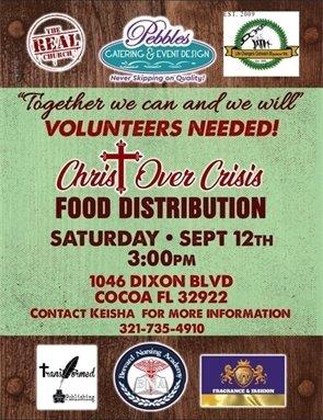 Food distribution event Saturday, 9/12 1046 Dixon Blvd., Cocoa