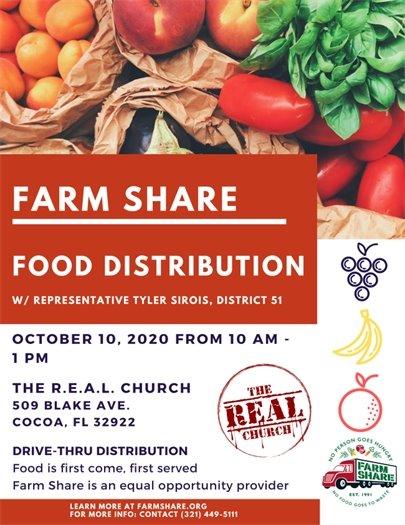 Drive thru food distribution flyer 10/10/20 10am 509 Blake Ave., Cocoa