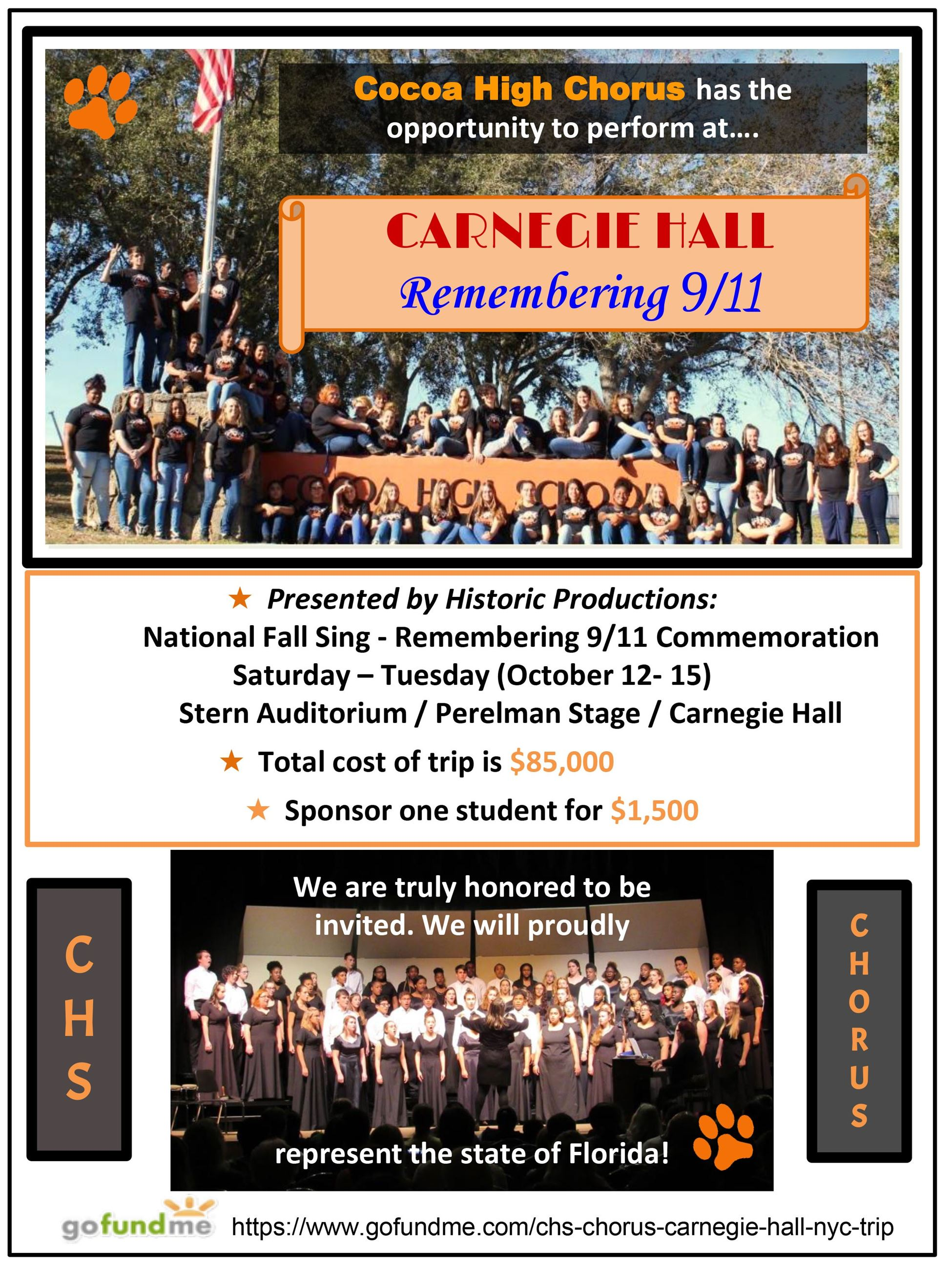 Flyer for the Cocoa High School Chorus to Attend a Special 9/11 Performance at Carnegie Hall