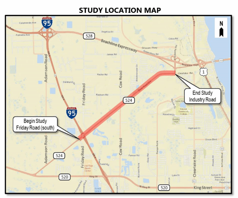 FDOT 524 Study Map encompassing Friday Road on the south border and spanning to Industry Blvd.