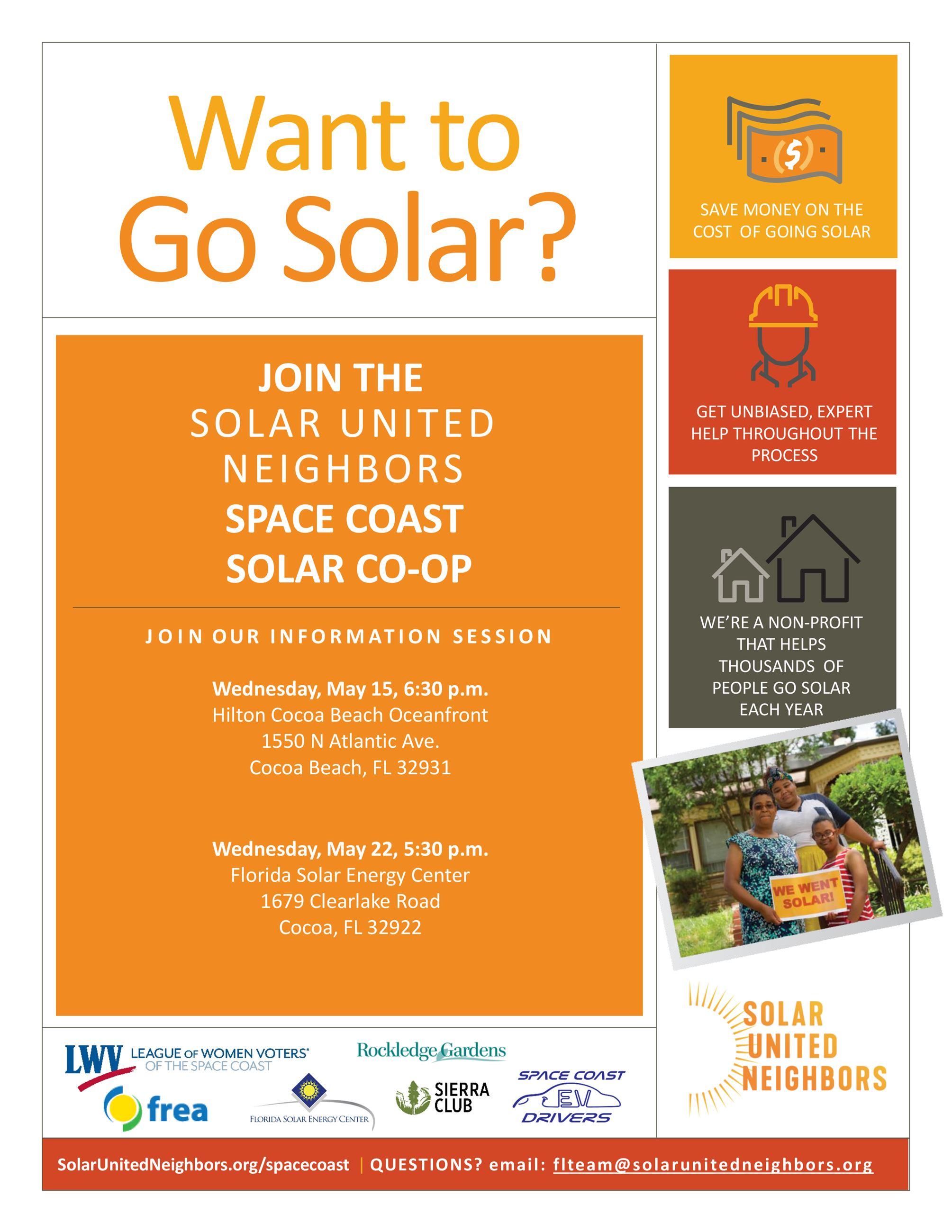 Go Solar Flyer with oranges and yellows, money and home imagery with photo of a family holding a sig
