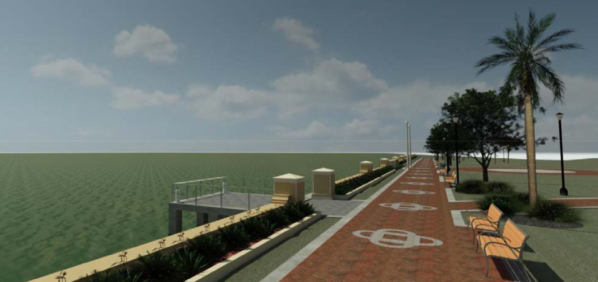 Rendered image of knee-wall concept at Riverfront Park with strip of grass, planter, and knee-wall