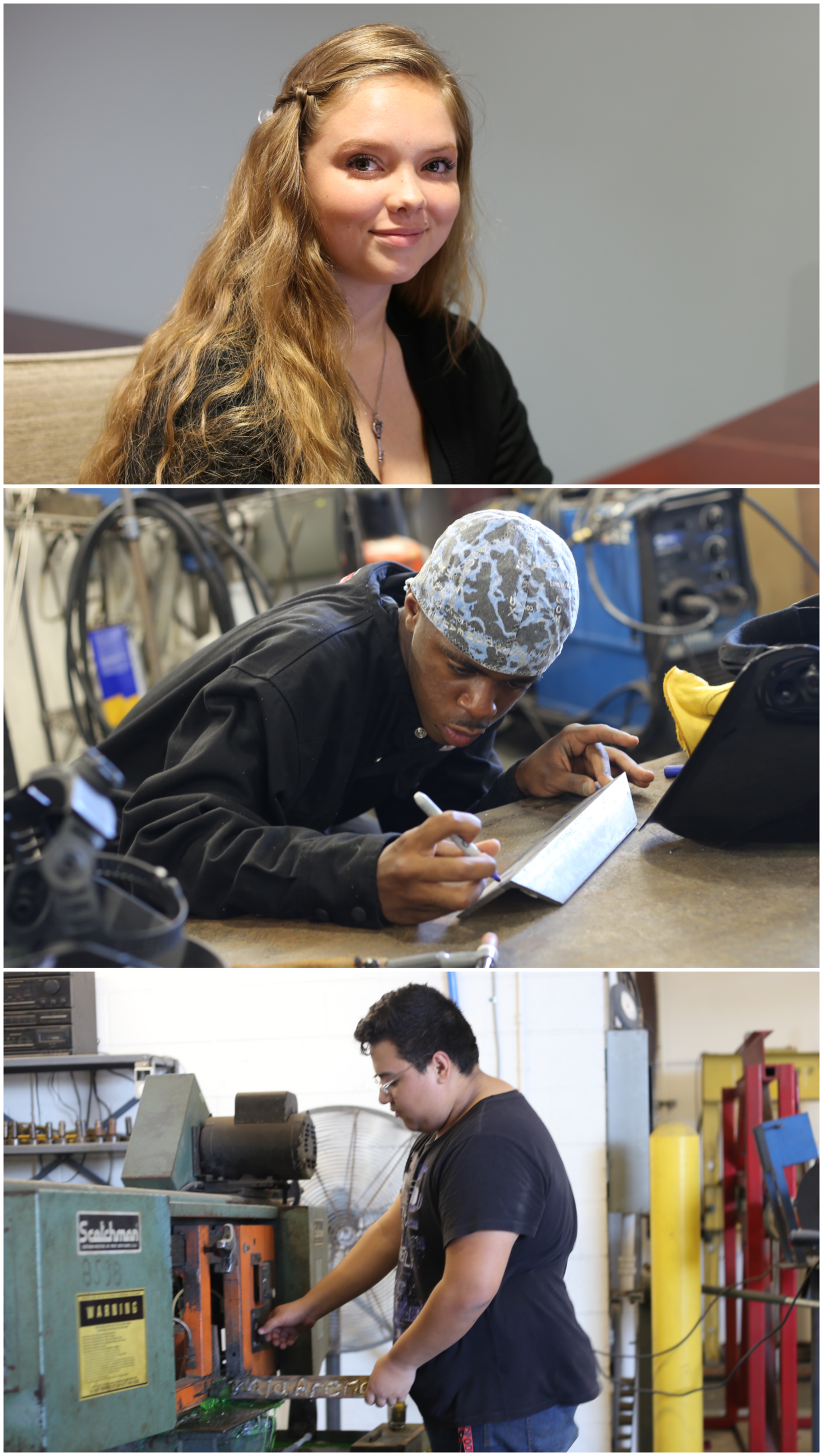 Cocoa Works collage with female student at desk, male student working with metal works, and another