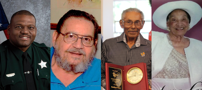 Collage of 4 images of volunteers that passed away. From left to right: Adrian Moss-Beasley, Mike Ci