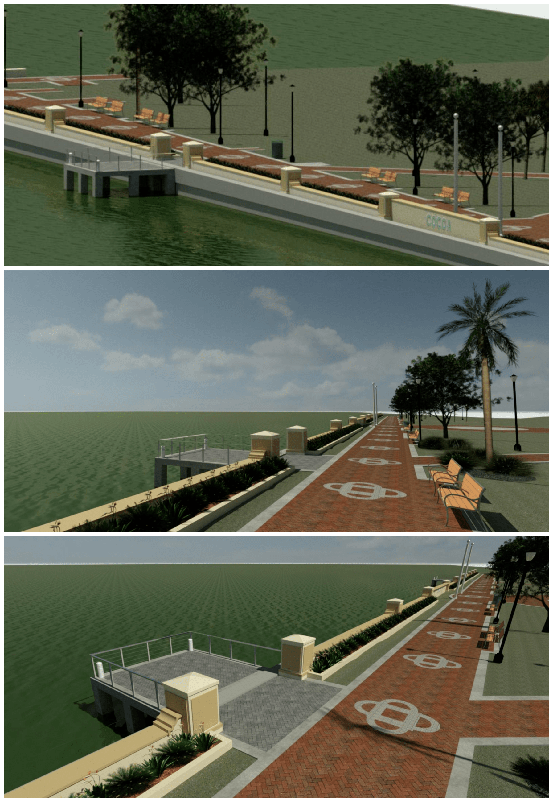 Rendered images of knee-wall concept at Riverfront Park with strip of grass, planter, and knee-wall