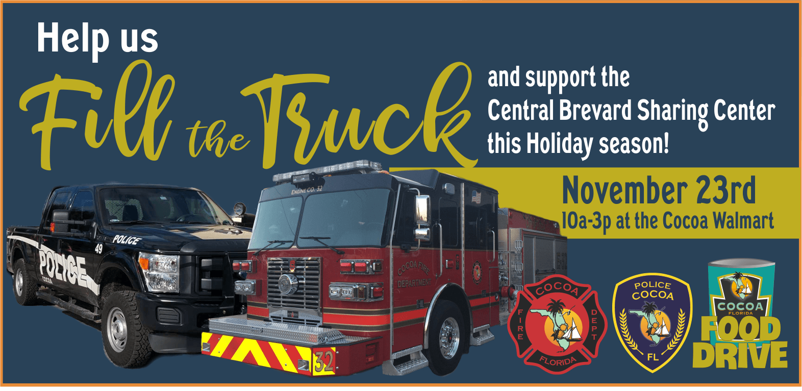 help us fill the truck and support the Central Brevard Sharing Center this holiday season. Nov 23.