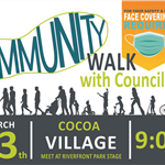 community walk cocoa village, 3/13th at 9am at riverfront park