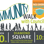 community walk diamond square, retention pond on Barbara Jenkins, 10:30am, 3/20