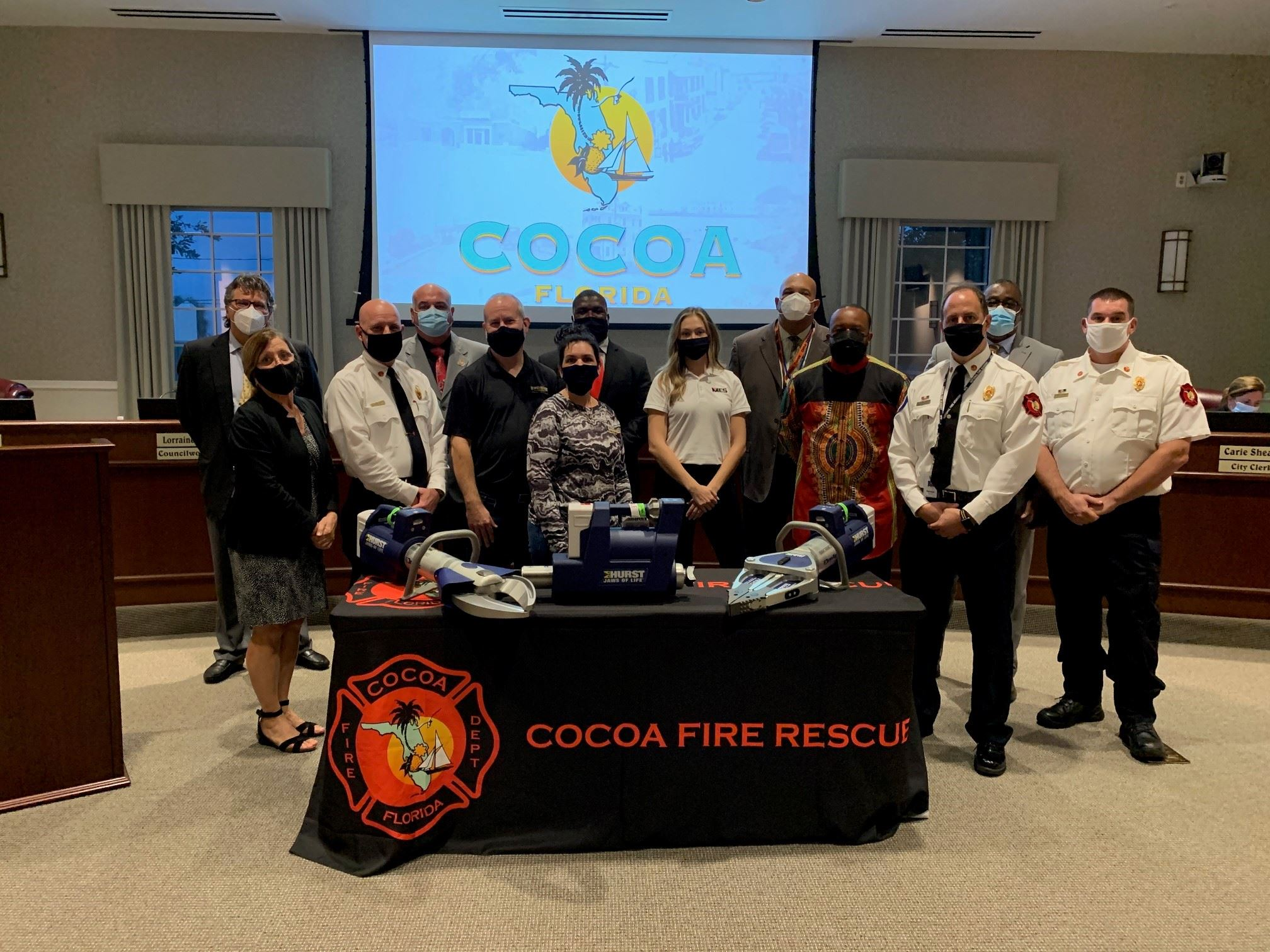 Cocoa fire members and Cocoa council members with new lifesaving equipment