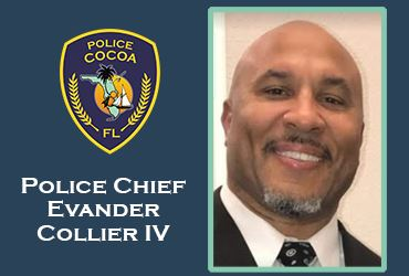 Police Chief Evander Collier IV headshot and Cocoa Police Department logo