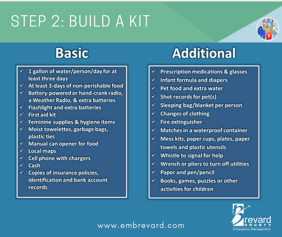 BUILD A KIT: visit www.embrevard.com to find the basics and additional supplies for a hurricane kit