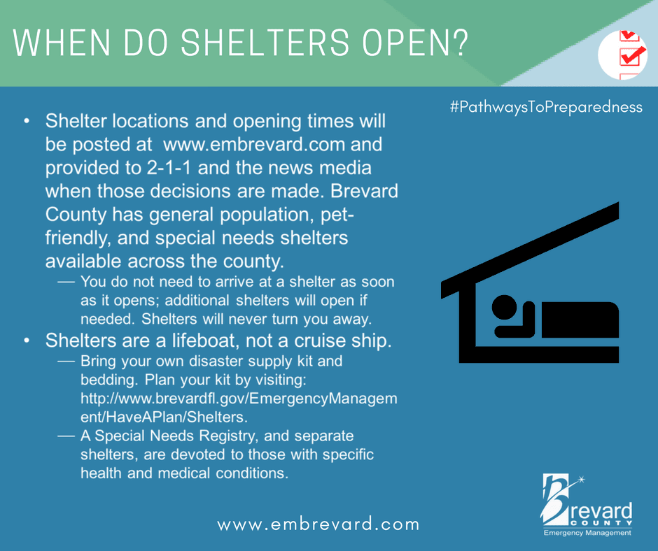 Shelters: shelter locations and opening times will be posted on www.embrevard.com & provided to news