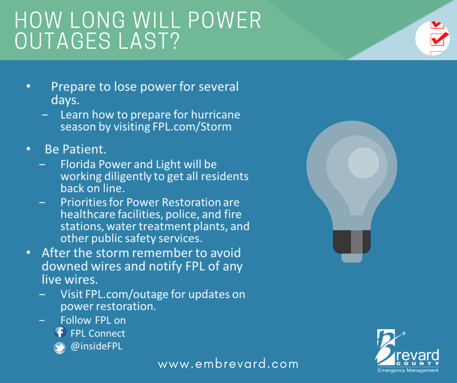 POWER: prepare to lose power for several days, be patient and learn more at fpl.com/storm