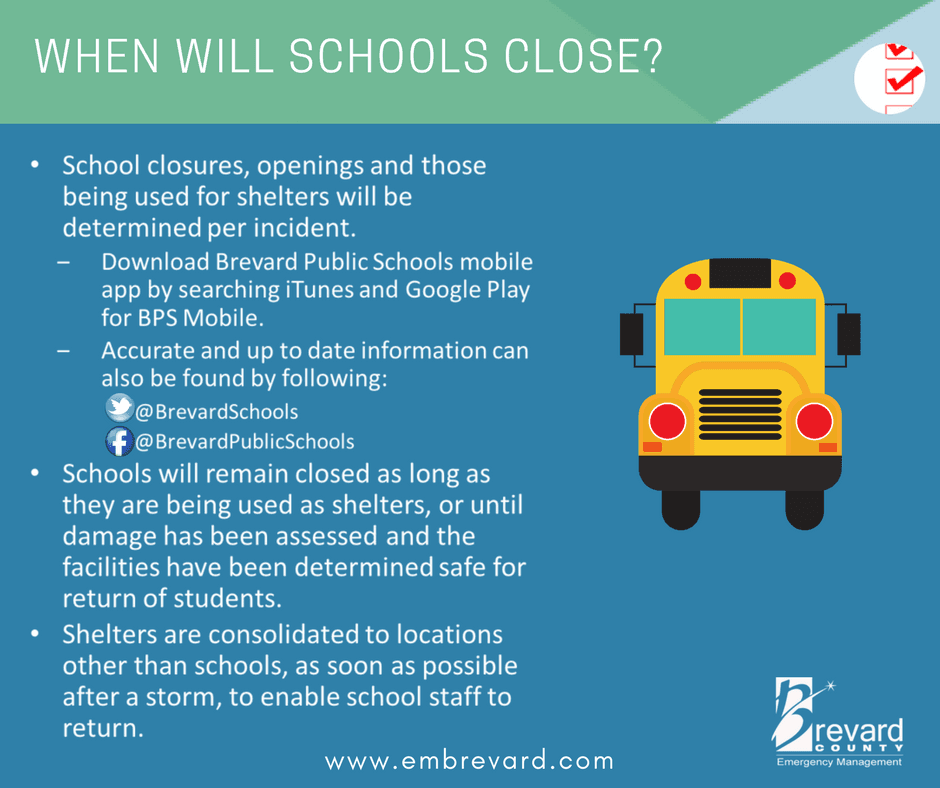 SCHOOL Closures: stay connected to Brevard Public schools on social to find out about closures