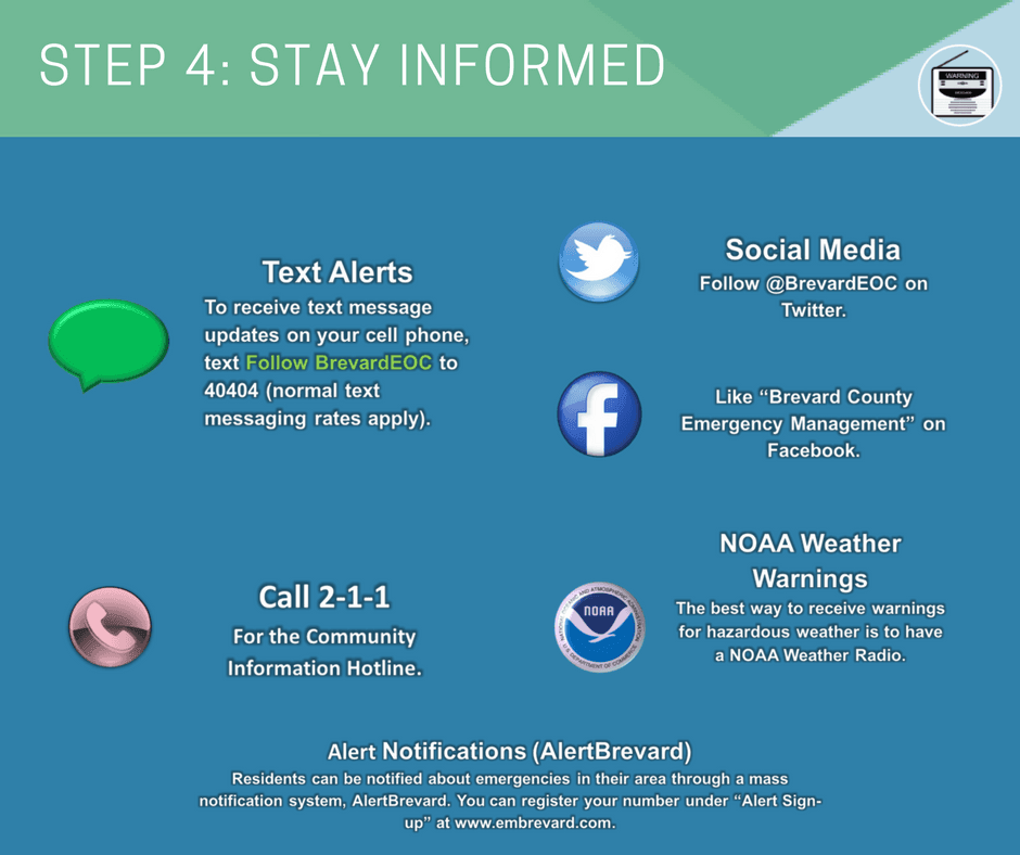 Stay informed: receive text alerts, call 2-1-1, follow on social or join Alert Brevard
