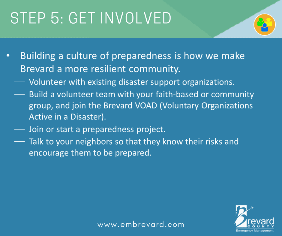 Get involved: volunteer, talk to your neighbors about preparedness