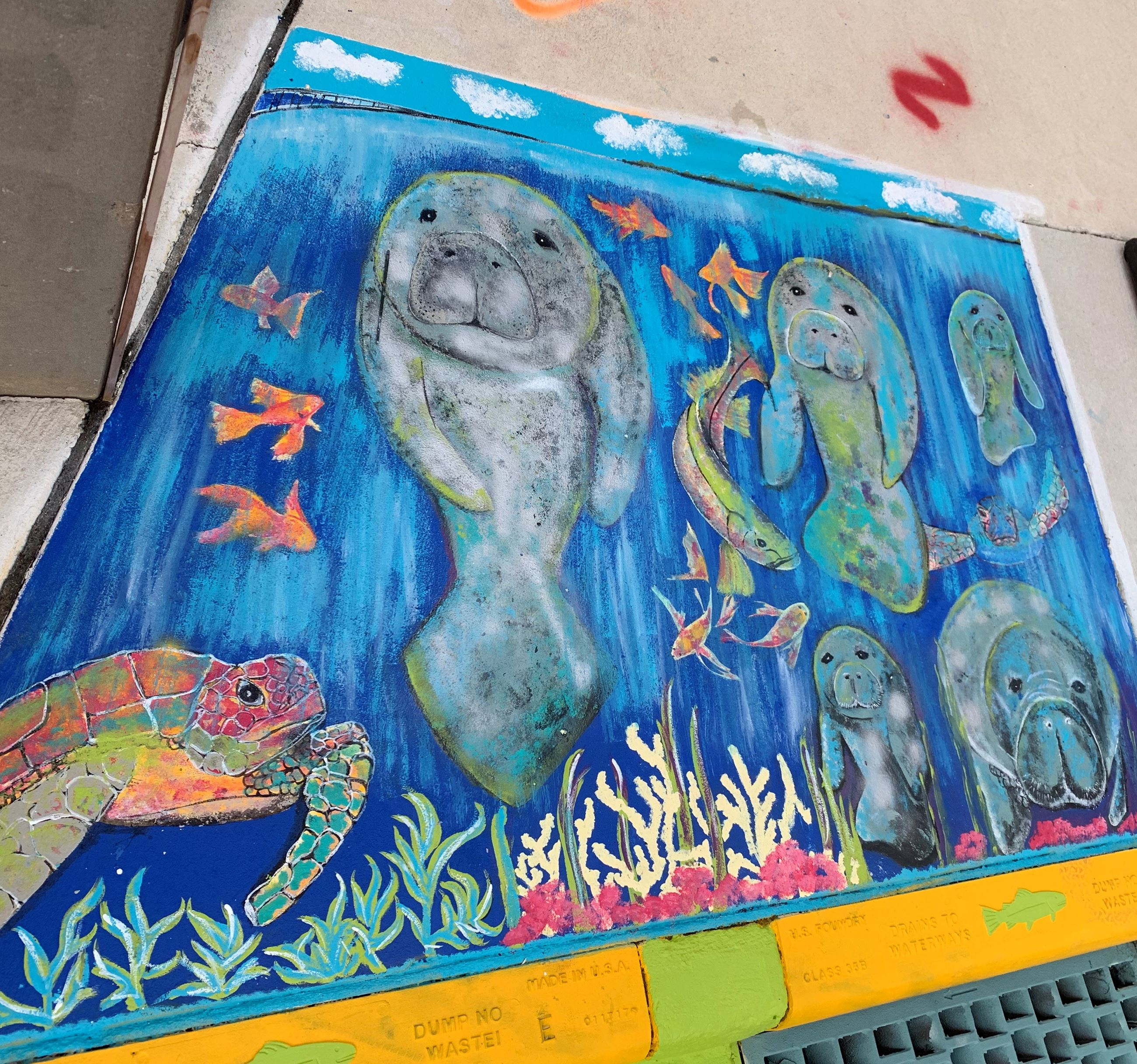 Artist Jenn Gallo's storm drain art at Florida Avenue and Factory St. as part of the storm drain